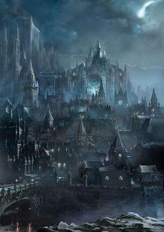 FantasyArt Artwork Irithyll of the Boreal Valley - Dark Souls III FromSoftware Concept Art Landscape, Fantasy Art Landscapes, Fantasy Concept Art, Dark Fantasy Art, Fantasy Landscape, Fantasy Artwork, Dark Landscape, Dark Artwork, Landscape Timbers