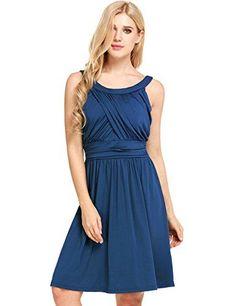Unibelle Women's Summer Sleeveless O-Neck Crossover Banded-Waist Skater Dress(Lake Blue,S)