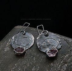 ruby sterling silver raw big earrings by jolantakrajewska on Etsy,
