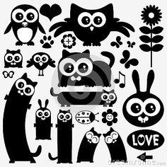 Zwarte silhouetten van leuke dieren. Het ontwerp van stickers
