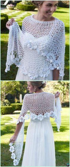 Crochet Spring Bloom Flower Lace Shawl Free Pattern - Crochet Women Shawl Sweater Outwear Free Patterns