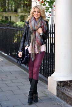 Boots+Colored Skinnies+Moto Jacket+Scarf = Mix any solid coordinating solid colored shirt for a perfect Fall, layered look!
