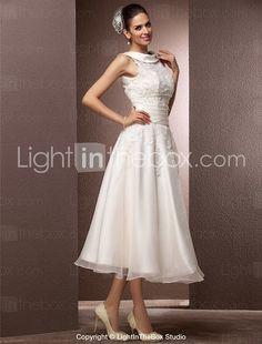 Lanting Bride A-line Petite / Plus Sizes Wedding Dress-Tea-length Jewel Organza 2016 - $109.99