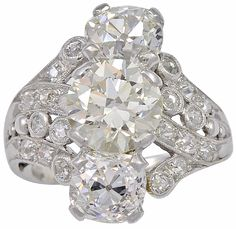 Art Deco 4.56ct Old European Cut Diamond Platinum Ring   From a unique collection of vintage fashion rings at http://www.1stdibs.com/jewelry/rings/fashion-rings/