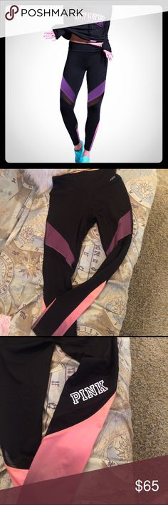 Vs pink high waist ultimate leggings. NWOT. Super cute! High waist. I'm just not really into the mesh detailing. My loss, your gain. :) Possibly will trade for other ultimate leggings. PINK Victoria's Secret Pants Leggings