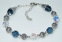 Swarovski Montana Denim Blue and Crystal AB Bracelet
