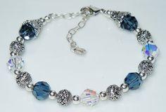 Swarovski Montana Denim Blue and Crystal AB Bracelet by BestBuyDesigns