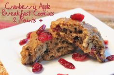 Low fat breakfast cookies with whole wheat flour, oatmeal, apple sauce, apples and dried cranberries.  They're less that 100 calories each and only 2 Weight Watchers Points +.  Loved these!