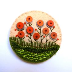 FIELDS OF SUMMER FELT BROOCH  MEASUREMENT 7cm.  MATERIALS Felt Embroidery cotton Brooch pin  I pay close attention to detail and as a result, you