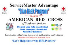 ServiceMaster Advantage Merrillville - Giving Back Program for March!  Donate today for Red Cross Month