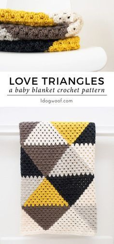 Triangles Granny Stripe Baby Blanket A modern take on a traditional granny: Love Triangles Granny Stripe baby blanket. Free crochet pattern at A modern take on a traditional granny: Love Triangles Granny Stripe baby blanket. Free crochet pattern at Crochet Amigurumi, Diy Crochet, Crochet Crafts, Crochet Projects, Crochet Ideas, Afghan Crochet Patterns, Crochet Afghans, Knitting Patterns, Crochet Blankets