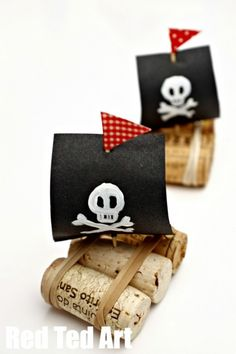 Pirate Ships for Talk Like a Pirate Day- Cork Boat craft for kidsYou can find Pirate ships and more on our website.Pirate Ships for Talk Like a Pirate Day- Cork Boat craft for kids Kids Crafts, Boat Crafts, Camping Crafts, Summer Crafts, Craft Projects, Craft Ideas, Garden Crafts, Garden Art, Toddler Crafts