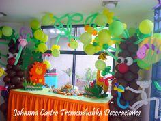 FIESTA TEMATICA DE LA SELVA REALIZADA POR JOHANNA CASTRO TREMENDUSHKA DECORACIONES BARQUISIMETO VENEZUELA 04125204713 02516356665 correo tremendushkadecoraciones gmail.com
