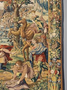 "Designed by Pieter Coecke van Aelst (Netherlandish, 1502–1550). The Story of Joshua: Gibeonites Trick Joshua tapestry (detail), designed ca. 1537, woven ca. 1544. Woven under the direction of Jan Dermoyen (Flemish, active 1539–1544). Kunsthistorisches Museum Wien, Kunstkammer. | This work is featured in ""Grand Design: Pieter Coecke van Aelst and Renaissance Tapestry,"" on view October 8, 2014–January 11, 2015. #Coecke #tapestrytuesday #granddesign"