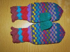 double kniting mittens for 2yo