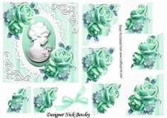 Pretty turq roses with cameo on vintage lace scalloped corner side stackers also can be seen in 8x8 with topper, makes a pretty card, can be seen in other designs, and colours