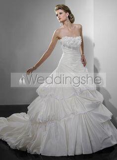 Gorgeous Ball Gown Strapless Chapel Train Draped Custom Made Wedding Dress(Free Shipping)