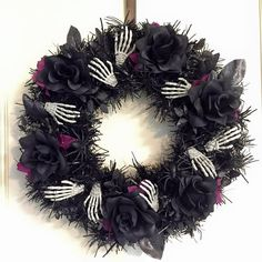Halloween skeleton hands and roses wreath by CCraftsandCupcakery