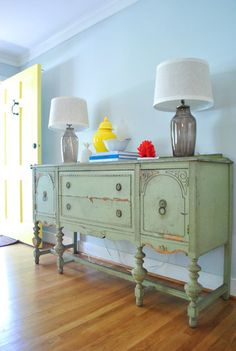 love the paint color and distressing on this buffet Isn't That Special? | Young House Love