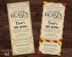 Fantastic Beasts and Where to Find Them Invitation, Harry Potter, Birthday, Movie Ticket, Hogwarts, Gryffindor, Boys Girls, Custom, Kids