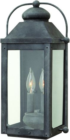 Anchorage 2 Light Outdoor Wall Light Aged Zinc