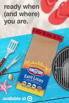 Want a hassle-free cookout at the beach? The Kingsford Easy Light Bag makes it simple. Just light the bag and it's time to grill! The Kingsford Easy Light Bag is available at Target. Get it today in the lawn and patio section.