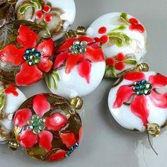 """TRIZAS-ORIGINAL  Handmade lampwork bead """"Poinsettia"""" TOS0509 SRA #TRIZASOriginal #Lampwork"""