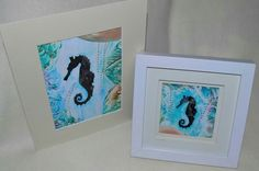 Encaustic wax painted silhoutte seahorses by Moo Doodle https://www.facebook.com/moodoodle15