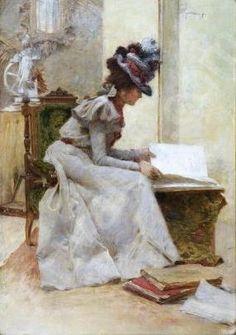 Lady with a Book ~ Karel Spillar ~ (Czech: 1871-1939)