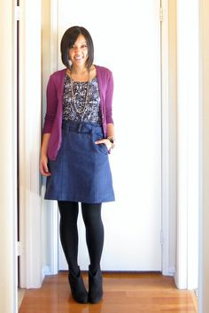 purple and blue - nice!  short skirt and cardigan with black shoes, tights and patterned top