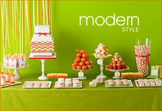 This Amy Atlas orange & lime dessert table is fresh and fun.