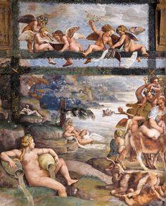 Frescoes in the Sala di Psiche (1526-28) by GIULIO ROMANO and assistants River Landscape with Springs  1526-28  Fresco  Sala di Psiche, Palazzo del Tè, Mantua