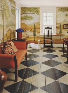 diamond checkerboard painted floor and Rufus Porter-style mural by David B. Wiggins= love this floor Painted Wood Floors, Wooden Flooring, Kitchen Flooring, Painted Walls, Slate Flooring, Rubber Flooring, Farmhouse Flooring, Penny Flooring, Plywood Kitchen