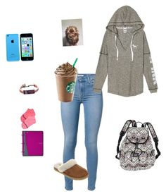 """""""First day of school in the fall"""" by lexyb34 on Polyvore featuring 7 For All Mankind, Victoria's Secret, GameWear and UGG Australia"""