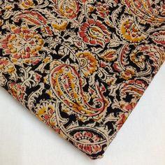 Paisley Kalamkari Fabric in Pink, Black and Mustard - Indian Cotton Fabric - Vegetable Dyed Kalamkari Pattern