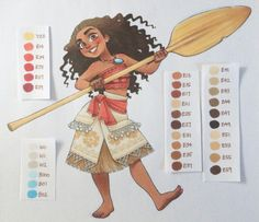 Disney's Moana with all the colors I used for her. This is probably the movie I'm most excited about this year!