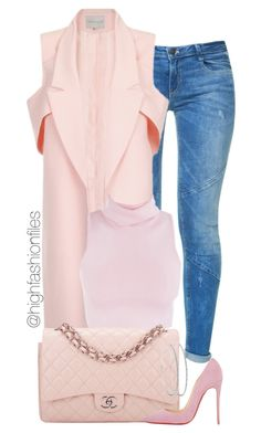 """""""Pink in Fall"""" by highfashionfiles ❤ liked on Polyvore featuring Zara, Chanel and Christian Louboutin"""