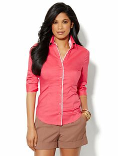 Madison Stretch Shirt - Coral Contrast-Trim - New York & Company