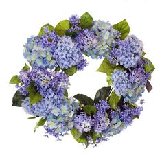 Beautifully vivid, and elegantly poised, our Hydrangeas and Agapanthus Silk Floral Wreath features lovely shades of blue and lavender blossoms among a luscious backdrop of deep green foliage. Expertly