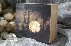 Great Spirit, Full Moon setting behind trees, photograph, photo, 3.25inch wooden box-frames, photo block