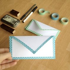 DIY Envelope tutorial on how to fold an envelope from a piece of computer paper and fancy it up with Washi tape!