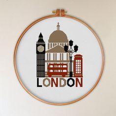 London clock tower cross stitch pattern retro by tscrossstitch
