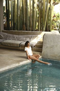 Our easy summer tees: made of super soft, subtly drapey, Pima cotton from Peru, designed in flattering scoop neck and V-neck cuts. Exterior Design, Interior And Exterior, Outdoor Spaces, Outdoor Living, Piscina Interior, Pool Water Features, Desert Homes, Garden Pool, Tropical Houses