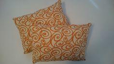 Charming Pillows Handmade Orange Swirls Cotton by CharmingPillows