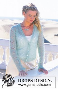 Knitting Patterns Mohair DROPS jacket with lace pattern in 'Vivaldi' ~ DROPS design Free Knitting Patterns For Women, Knitting Machine Patterns, Vintage Crochet Patterns, Sweater Knitting Patterns, Gilet Mohair, Mohair Sweater, Knit Cardigan Pattern, Drops Design, Summer Knitting