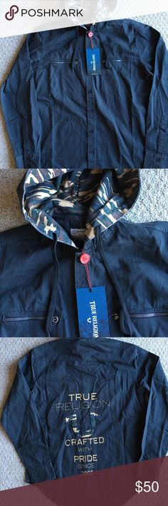 New Men's True Religion Button Up Hoodie Brand new with tags. Camo print Button Up Hoodie. Great deal! True Religion Shirts Sweatshirts & Hoodies