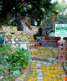 Garden of Oz - Hidden in Hollywoodland. Made of mosaics and art that climbs the hillside. Blessed by the monks of The Dalai Lama. The gate is locked, but the owner sent keys to all of the kids in the neighborhood. I have a key myself. :)