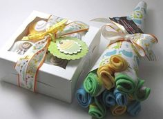 FREE Diaper Cupcake or Lollipop with Baby Gift Set - Onesie Cupcake Set(TM) and Washcloth Flower Bouquet. HANDMADE
