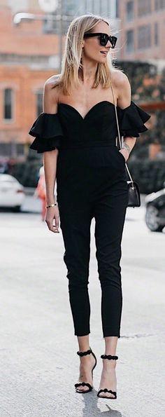 Black #offshoulder #jumpsuit With #highheels #summeroutfit #womensfashion #summerfashion #summerstyle #summer