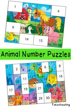 Free Animal Number Puzzles for Kids. Great for number recognition, counting and problem solving.